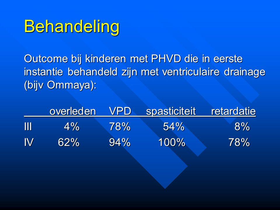 Behandeling Outcome bij kinderen met PHVD die in eerste instantie behandeld zijn met ventriculaire drainage (bijv Ommaya):