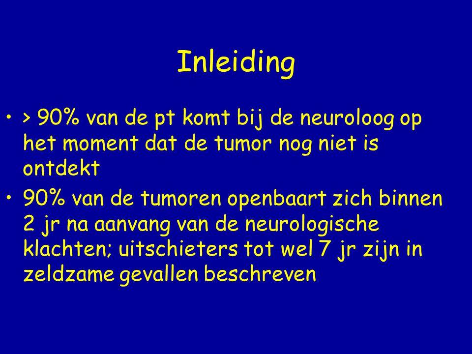 Inleiding > 90% van de pt komt bij de neuroloog op het moment dat de tumor nog niet is ontdekt.