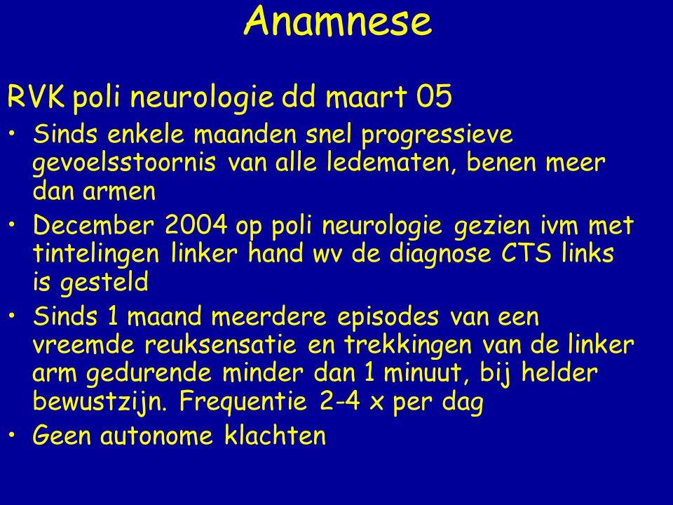 Anamnese RVK poli neurologie dd maart 05
