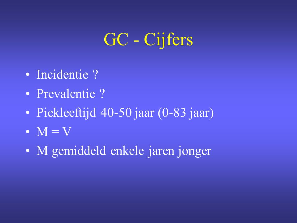 GC - Cijfers Incidentie Prevalentie