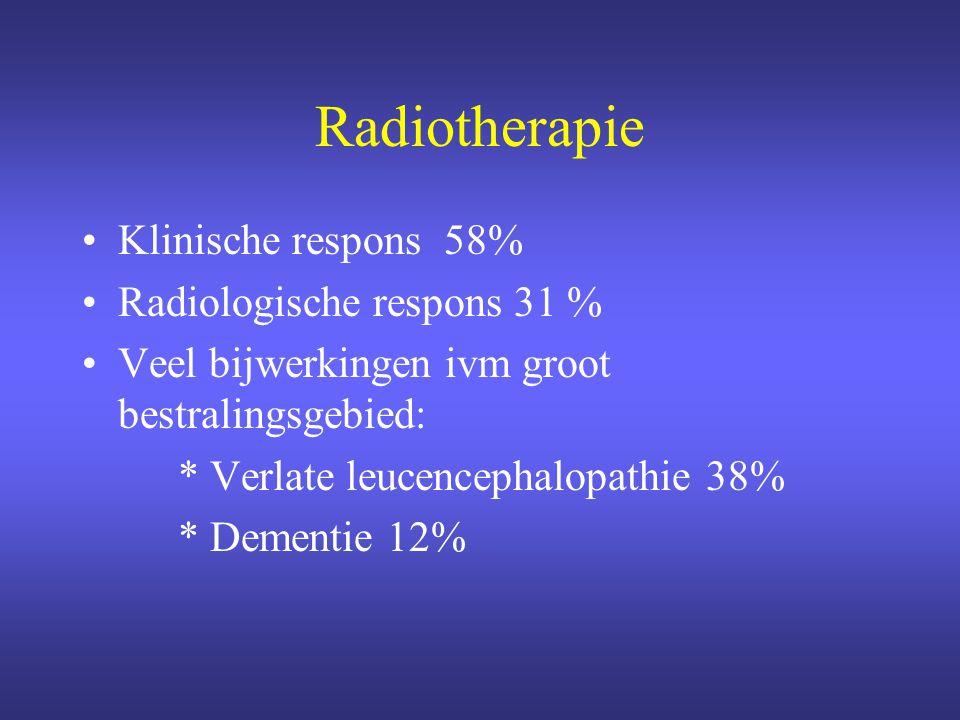 Radiotherapie Klinische respons 58% Radiologische respons 31 %