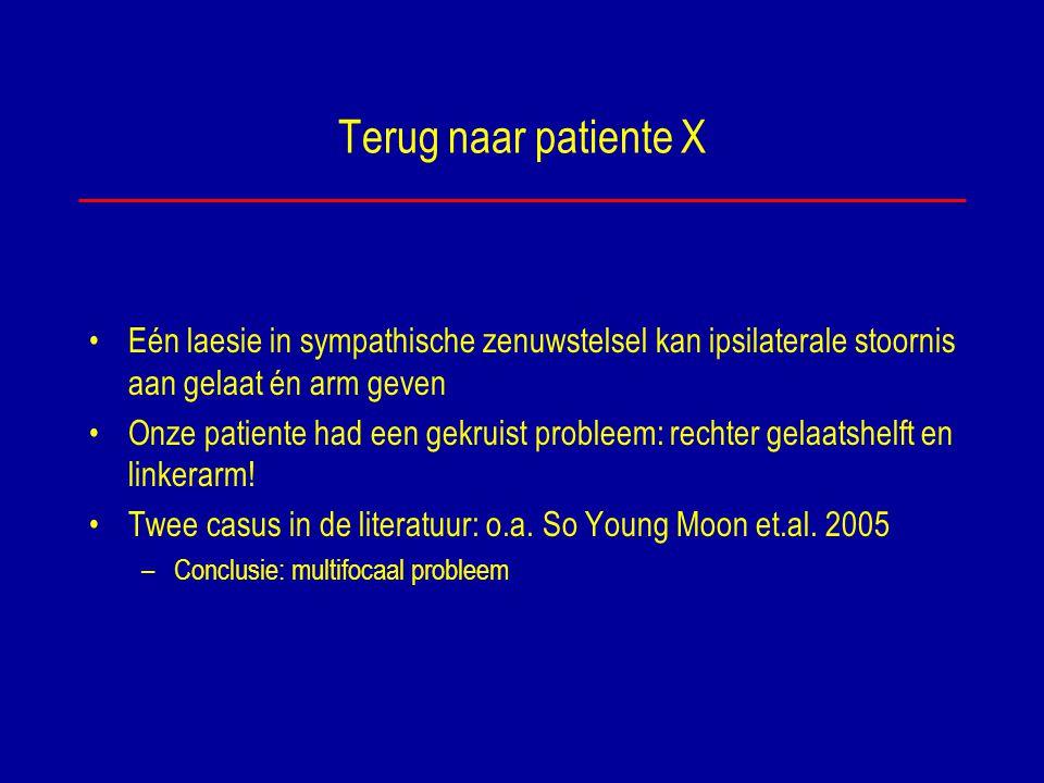 Terug naar patiente X Eén laesie in sympathische zenuwstelsel kan ipsilaterale stoornis aan gelaat én arm geven.