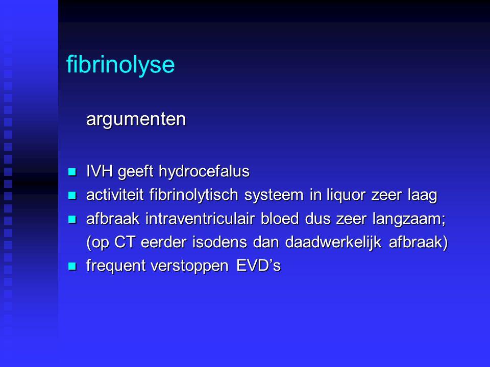 fibrinolyse argumenten IVH geeft hydrocefalus