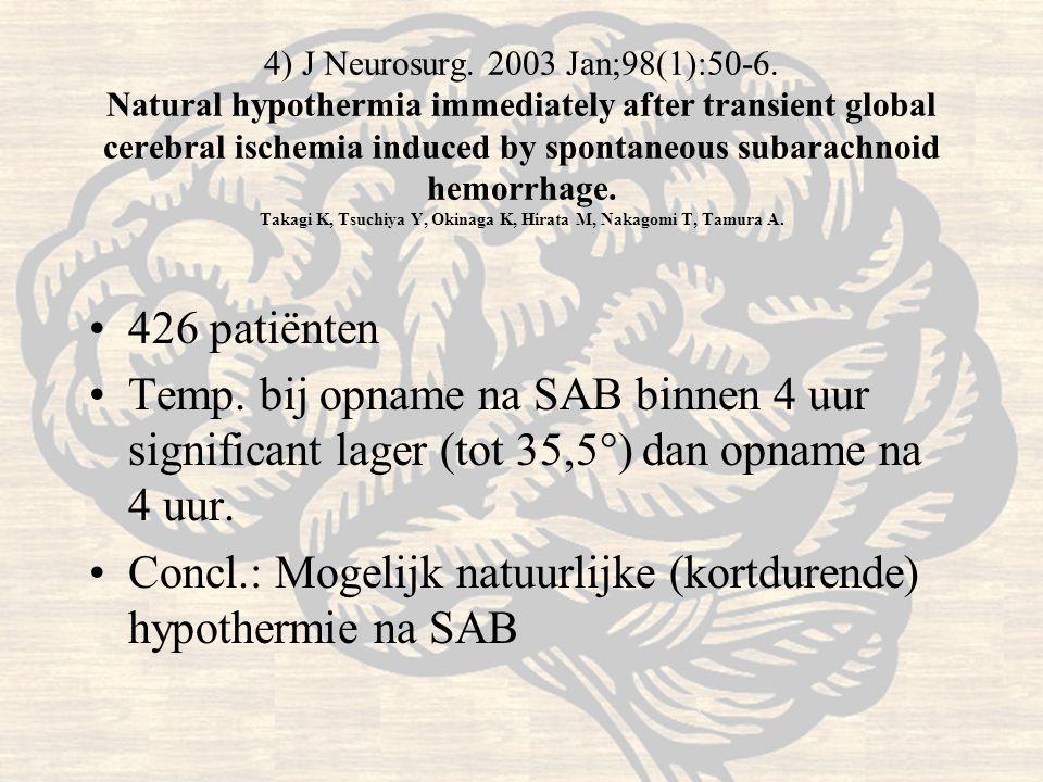 Concl.: Mogelijk natuurlijke (kortdurende) hypothermie na SAB