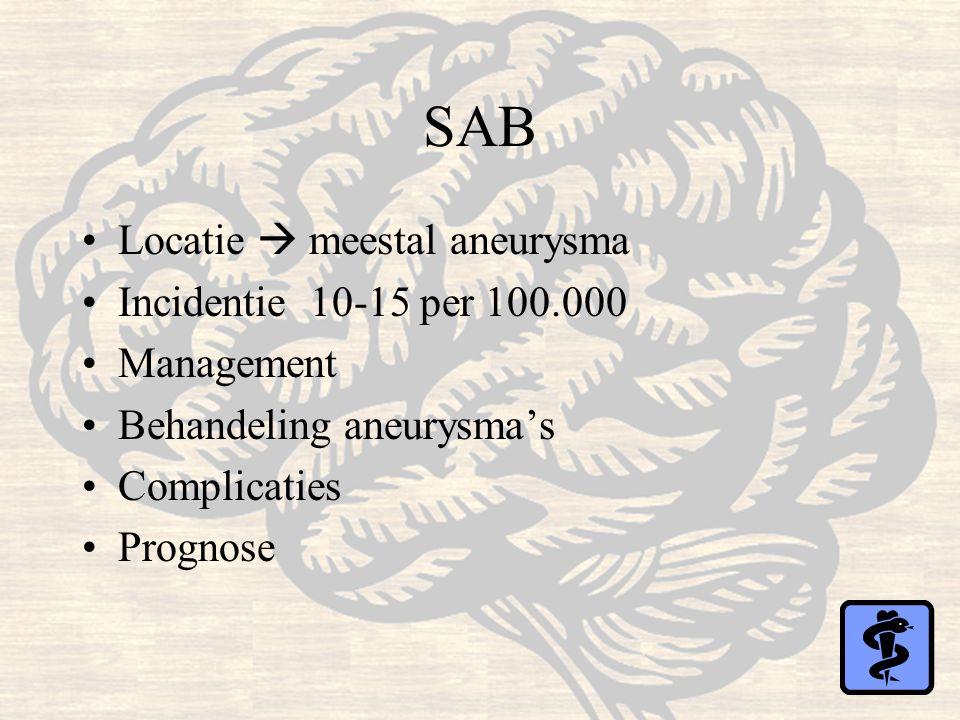 SAB Locatie  meestal aneurysma Incidentie 10-15 per 100.000