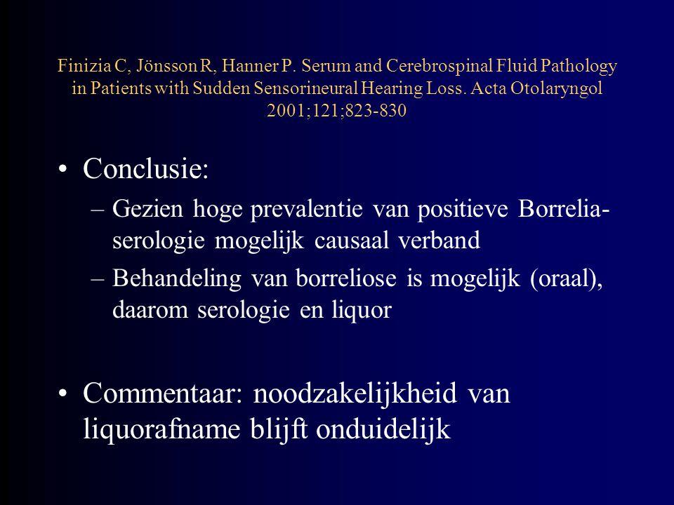 Commentaar: noodzakelijkheid van liquorafname blijft onduidelijk