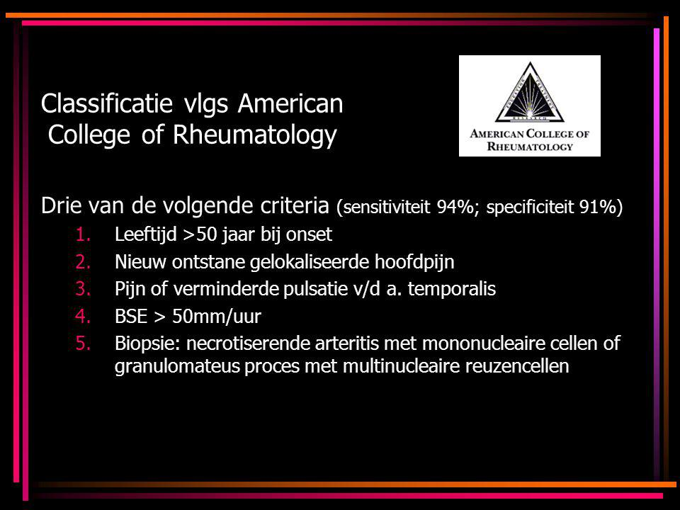 Classificatie vlgs American College of Rheumatology