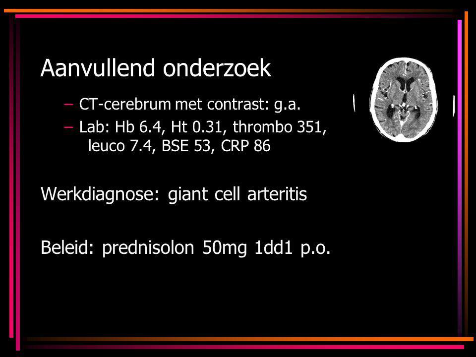 Aanvullend onderzoek Werkdiagnose: giant cell arteritis