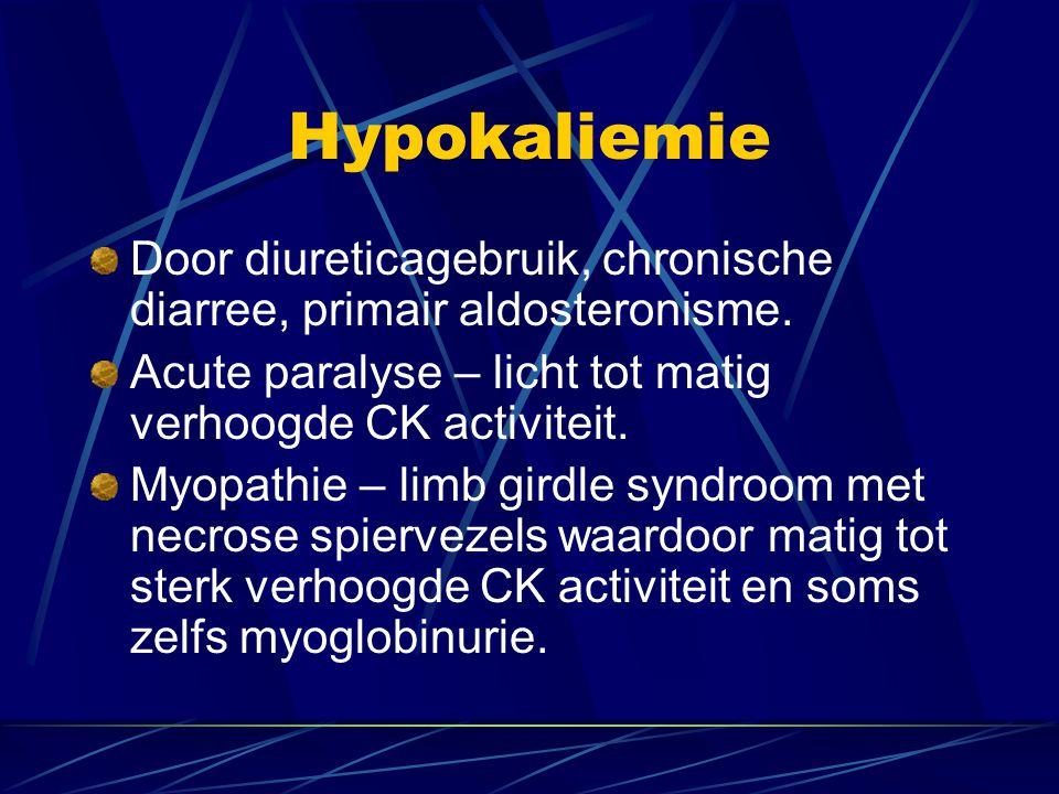 Hypokaliemie Door diureticagebruik, chronische diarree, primair aldosteronisme. Acute paralyse – licht tot matig verhoogde CK activiteit.