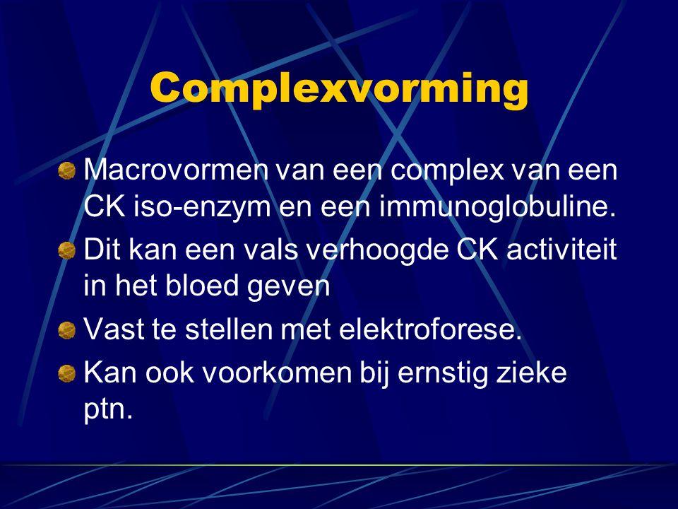 Complexvorming Macrovormen van een complex van een CK iso-enzym en een immunoglobuline. Dit kan een vals verhoogde CK activiteit in het bloed geven.
