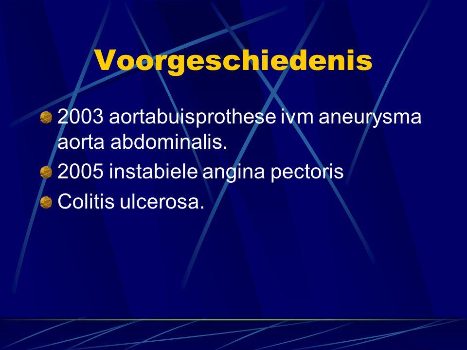 Voorgeschiedenis 2003 aortabuisprothese ivm aneurysma aorta abdominalis. 2005 instabiele angina pectoris.