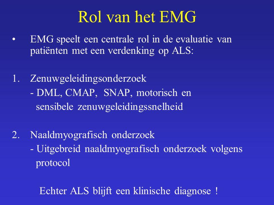 Rol van het EMG EMG speelt een centrale rol in de evaluatie van patiënten met een verdenking op ALS: