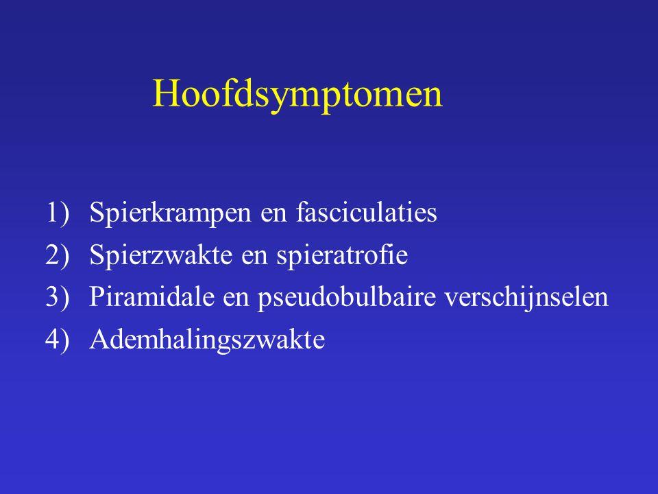 Hoofdsymptomen Spierkrampen en fasciculaties