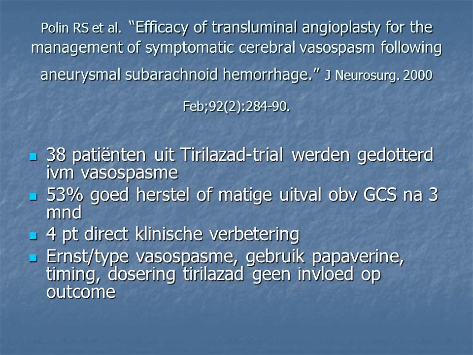 38 patiënten uit Tirilazad-trial werden gedotterd ivm vasospasme