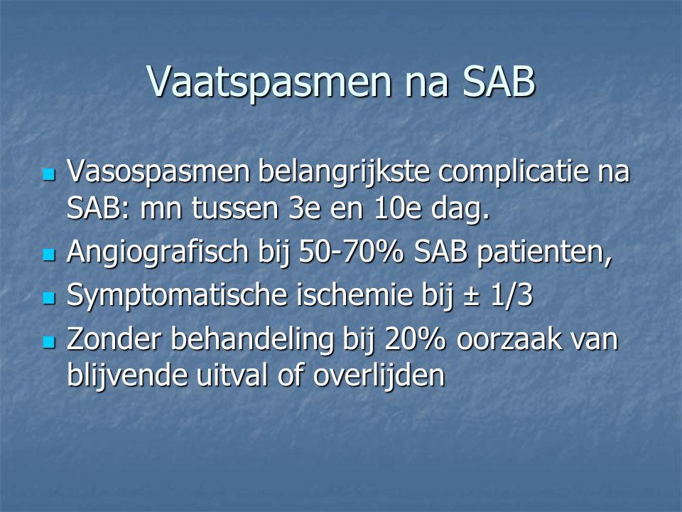 Vaatspasmen na SAB Vasospasmen belangrijkste complicatie na SAB: mn tussen 3e en 10e dag. Angiografisch bij 50-70% SAB patienten,