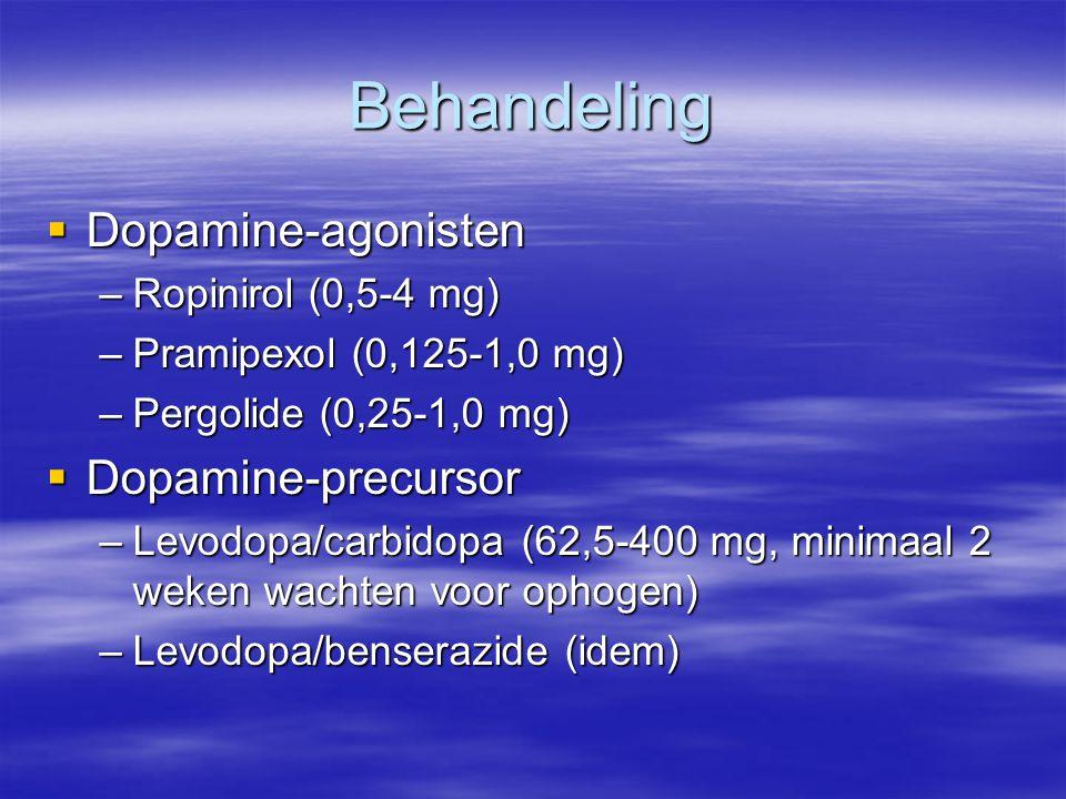 Behandeling Dopamine-agonisten Dopamine-precursor Ropinirol (0,5-4 mg)