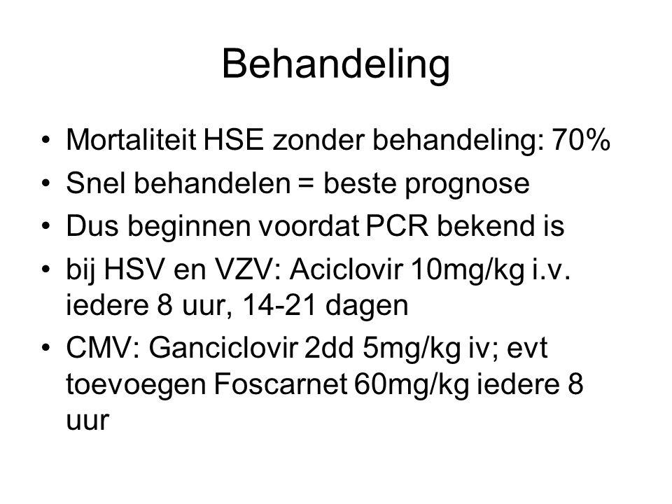 Behandeling Mortaliteit HSE zonder behandeling: 70%