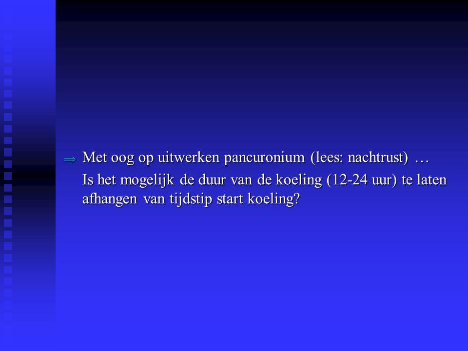 Met oog op uitwerken pancuronium (lees: nachtrust) …
