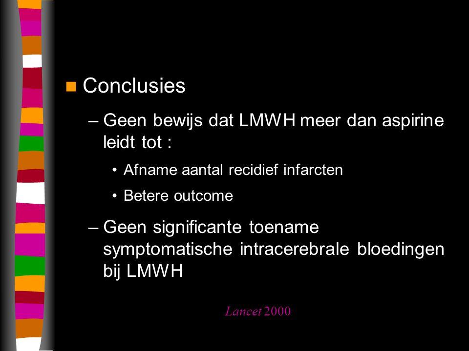 Conclusies Geen bewijs dat LMWH meer dan aspirine leidt tot :