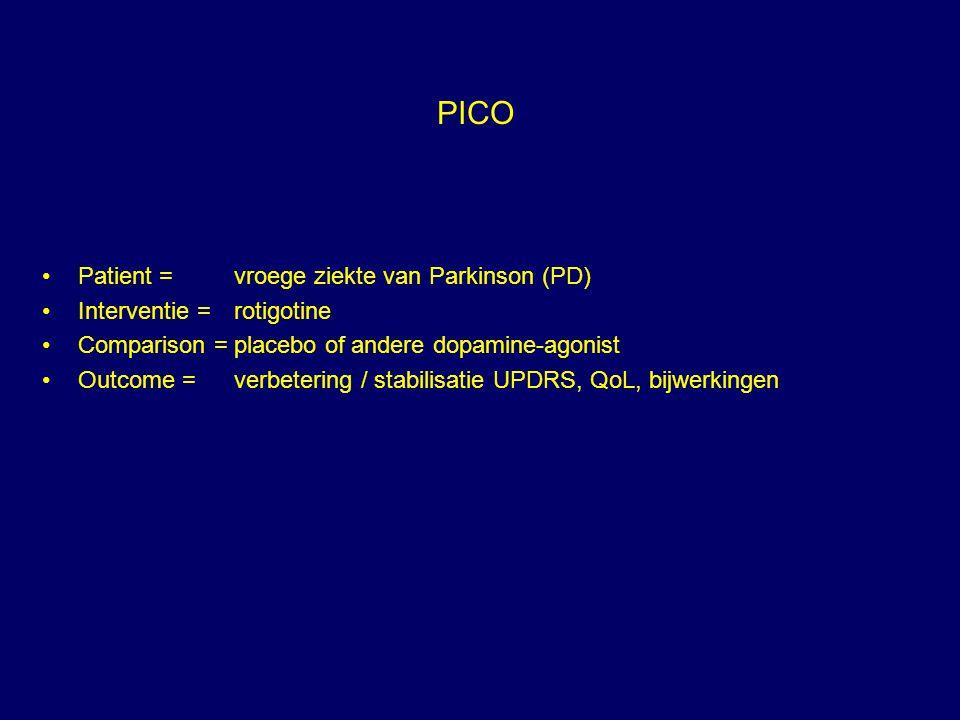 PICO Patient = vroege ziekte van Parkinson (PD)