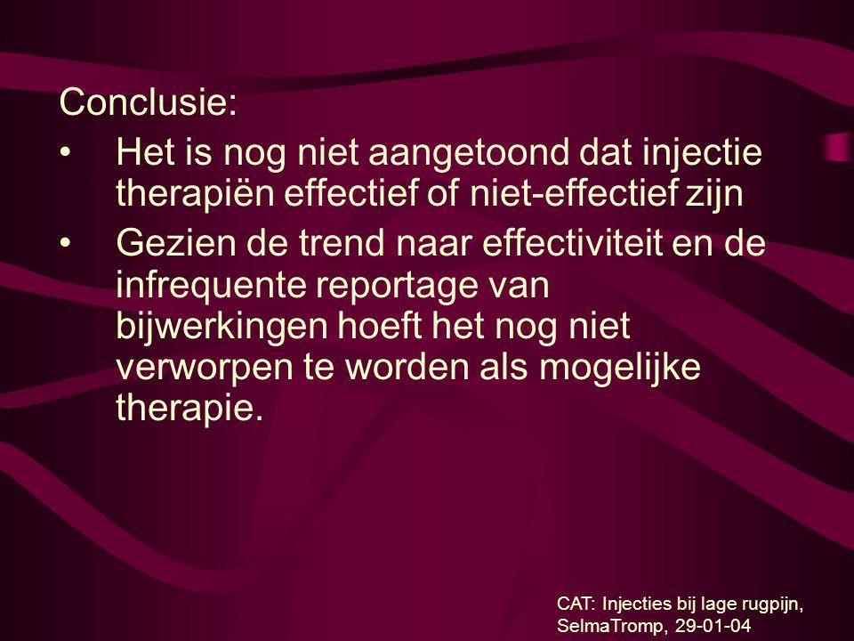 Conclusie: Het is nog niet aangetoond dat injectie therapiën effectief of niet-effectief zijn.