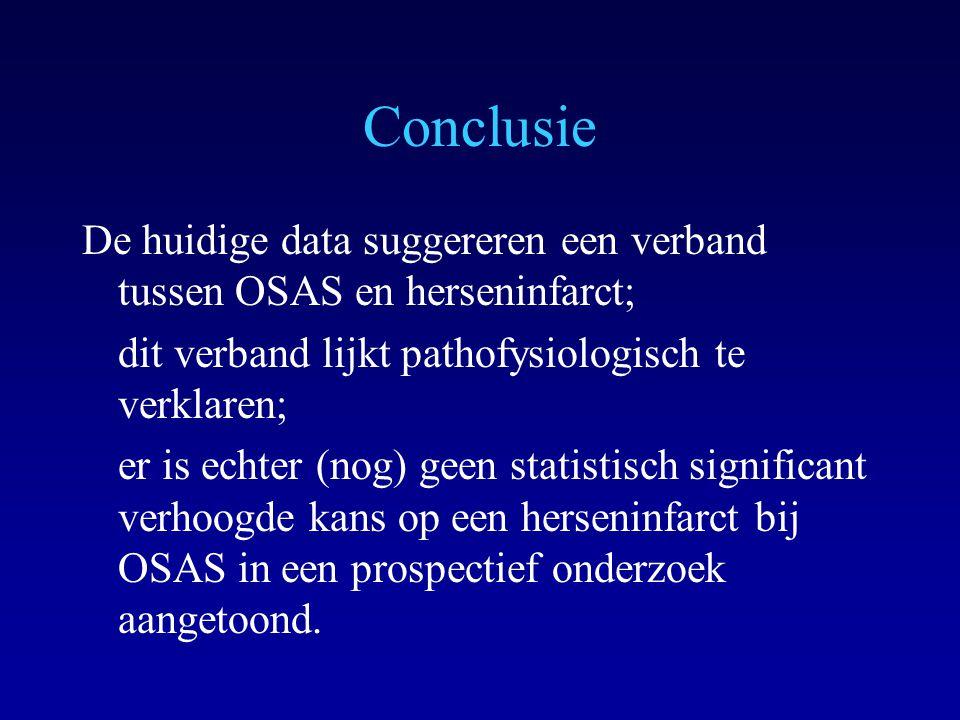 Conclusie De huidige data suggereren een verband tussen OSAS en herseninfarct; dit verband lijkt pathofysiologisch te verklaren;