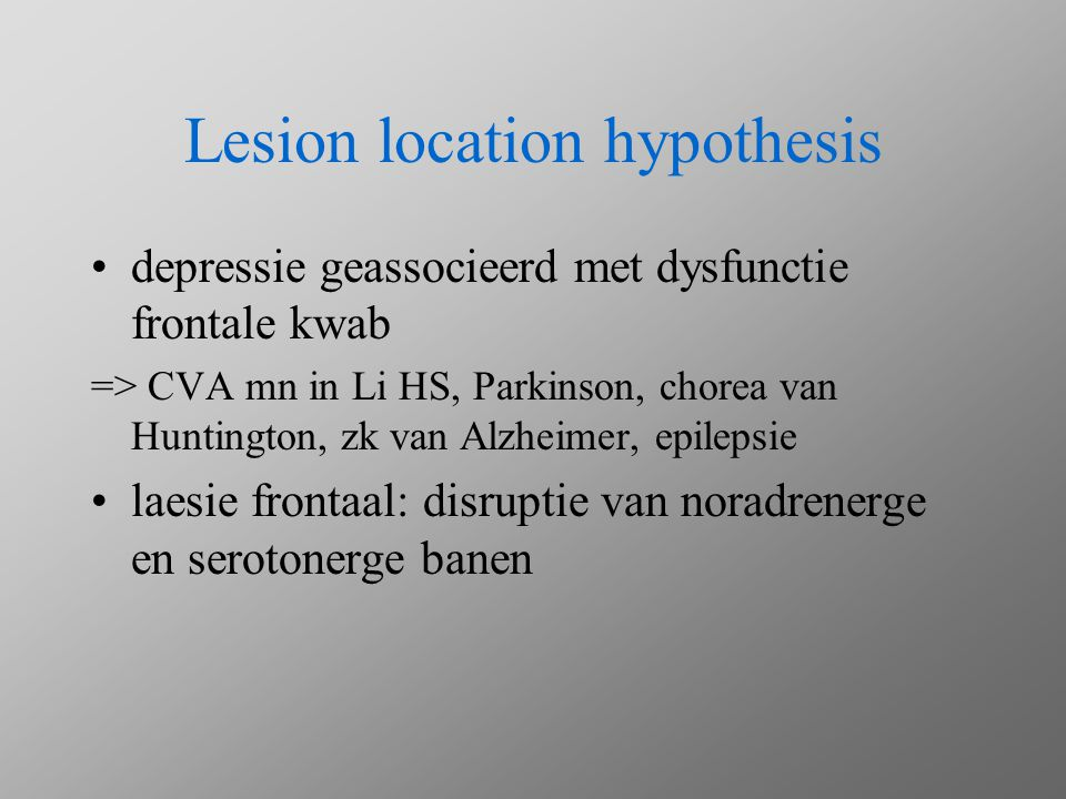 Lesion location hypothesis