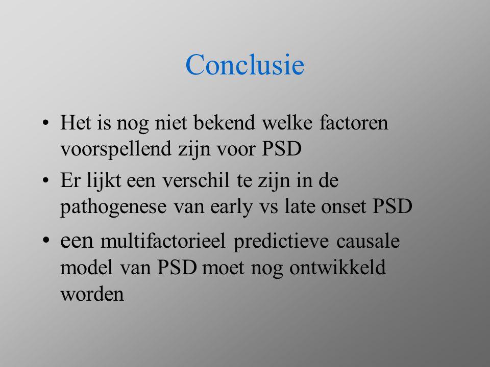 Conclusie Het is nog niet bekend welke factoren voorspellend zijn voor PSD.