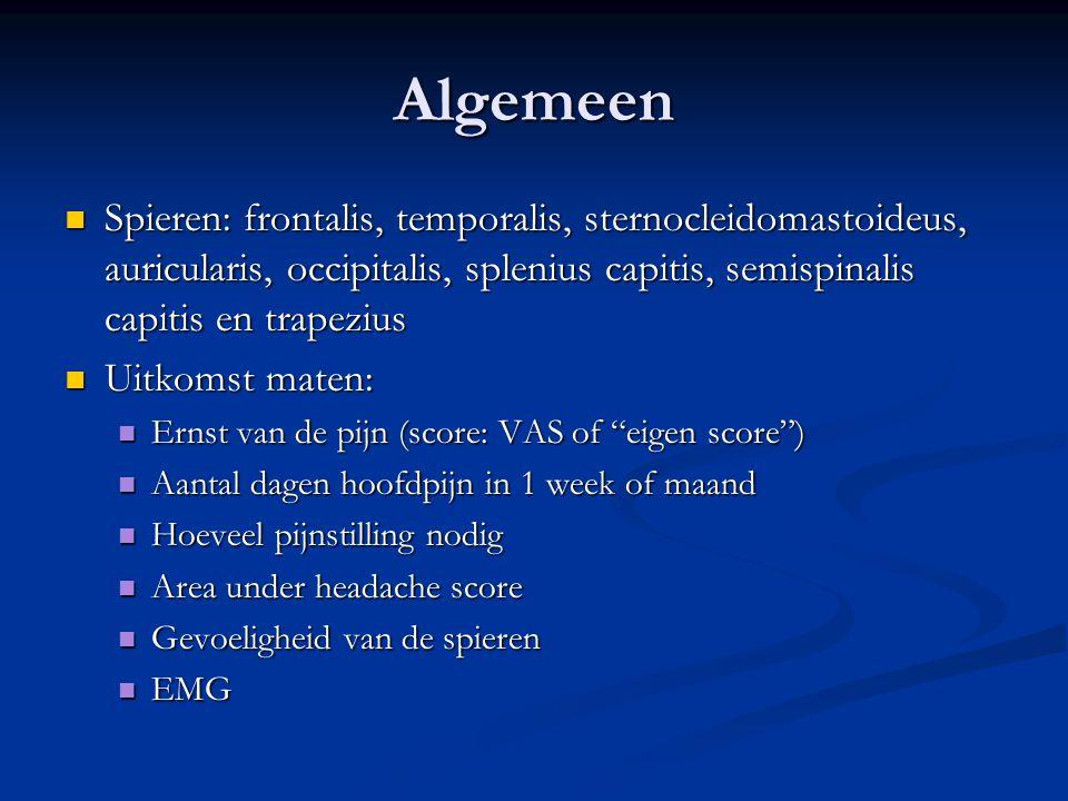 Algemeen Spieren: frontalis, temporalis, sternocleidomastoideus, auricularis, occipitalis, splenius capitis, semispinalis capitis en trapezius.