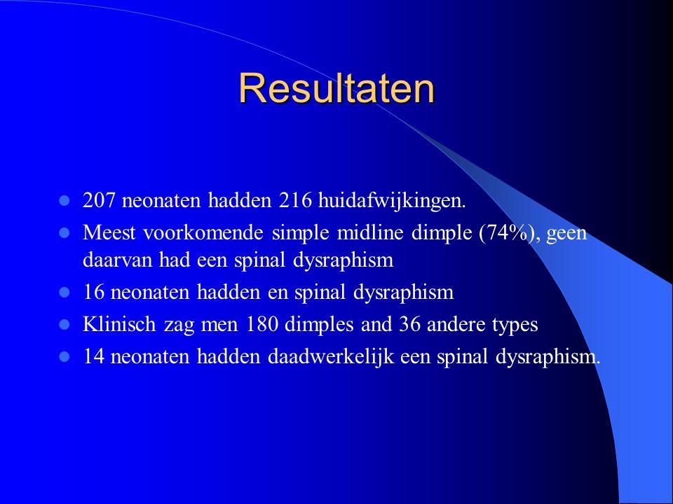 Resultaten 207 neonaten hadden 216 huidafwijkingen.