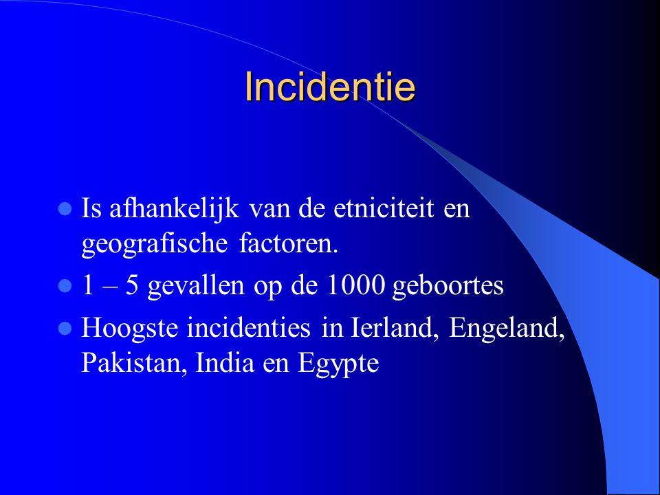 Incidentie Is afhankelijk van de etniciteit en geografische factoren.