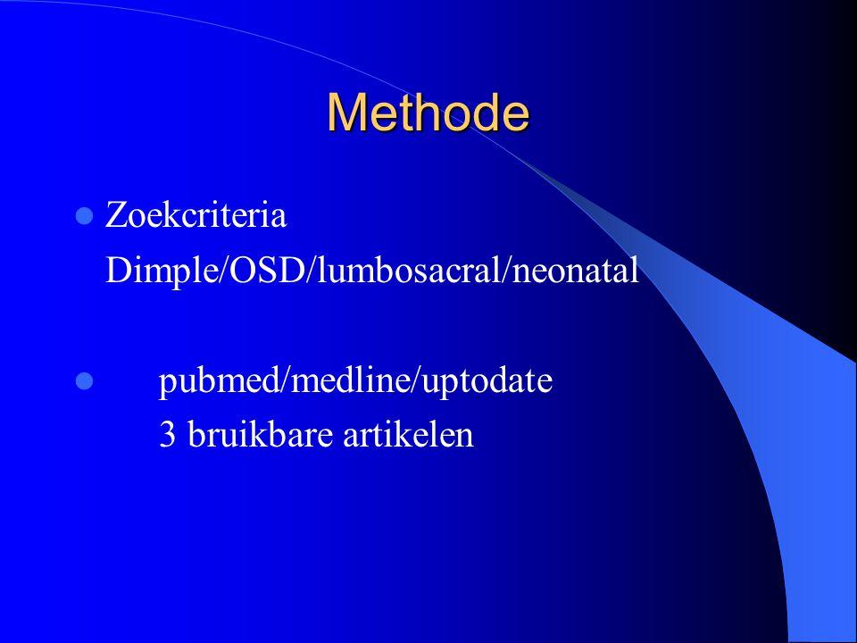 Methode Zoekcriteria Dimple/OSD/lumbosacral/neonatal