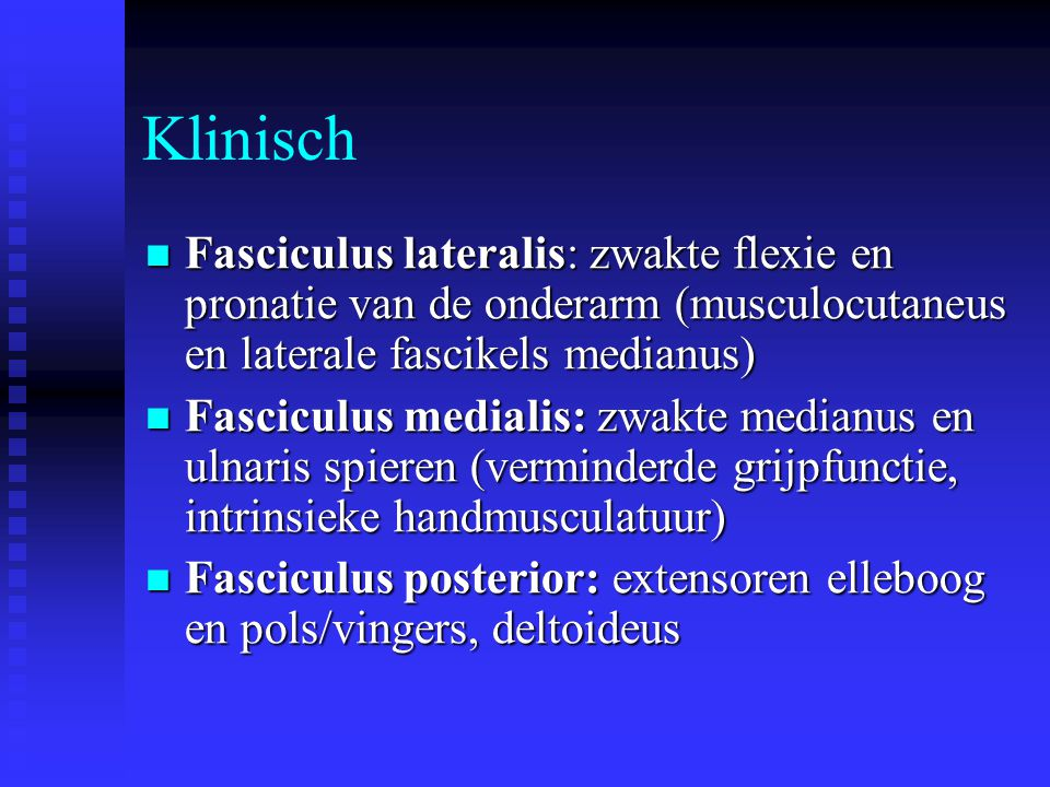 Klinisch Fasciculus lateralis: zwakte flexie en pronatie van de onderarm (musculocutaneus en laterale fascikels medianus)