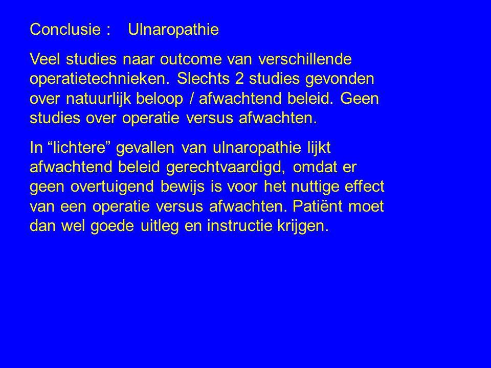 Conclusie : Ulnaropathie