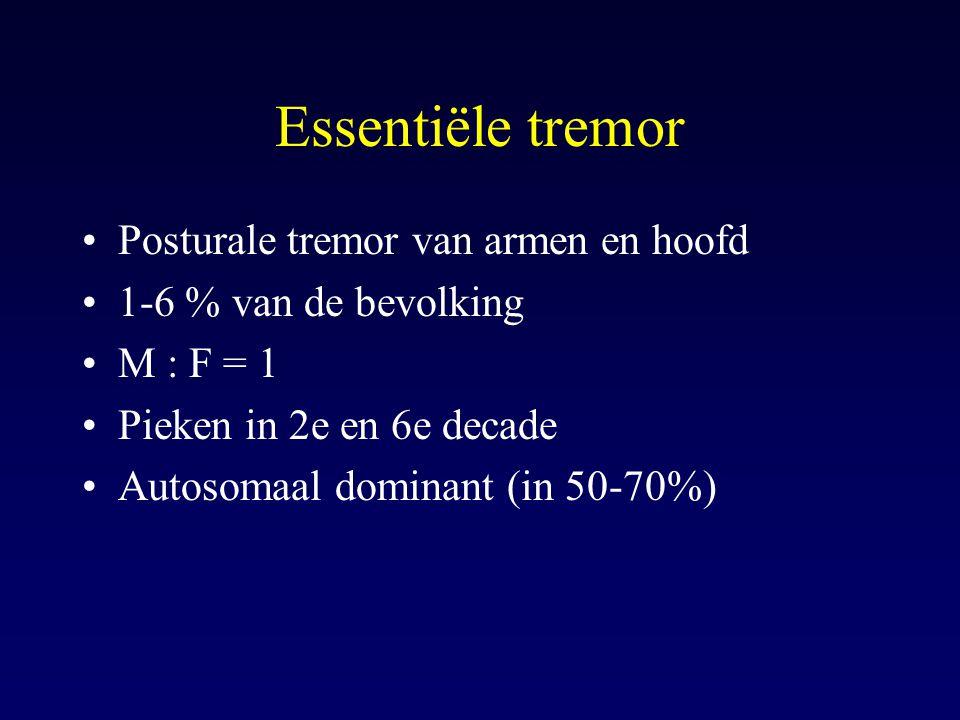 Essentiële tremor Posturale tremor van armen en hoofd