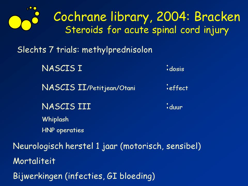 Cochrane library, 2004: Bracken Steroids for acute spinal cord injury