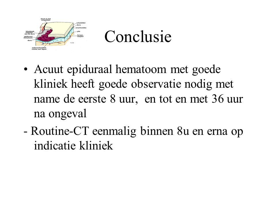 Conclusie Acuut epiduraal hematoom met goede kliniek heeft goede observatie nodig met name de eerste 8 uur, en tot en met 36 uur na ongeval.