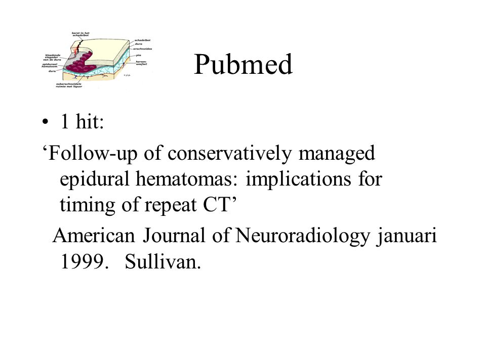 Pubmed 1 hit: 'Follow-up of conservatively managed epidural hematomas: implications for timing of repeat CT'