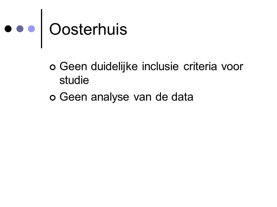 Oosterhuis Geen duidelijke inclusie criteria voor studie