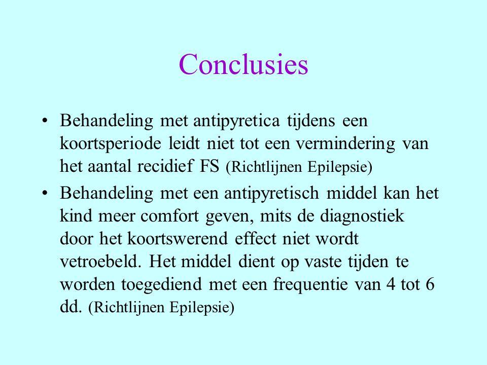 Conclusies Behandeling met antipyretica tijdens een koortsperiode leidt niet tot een vermindering van het aantal recidief FS (Richtlijnen Epilepsie)