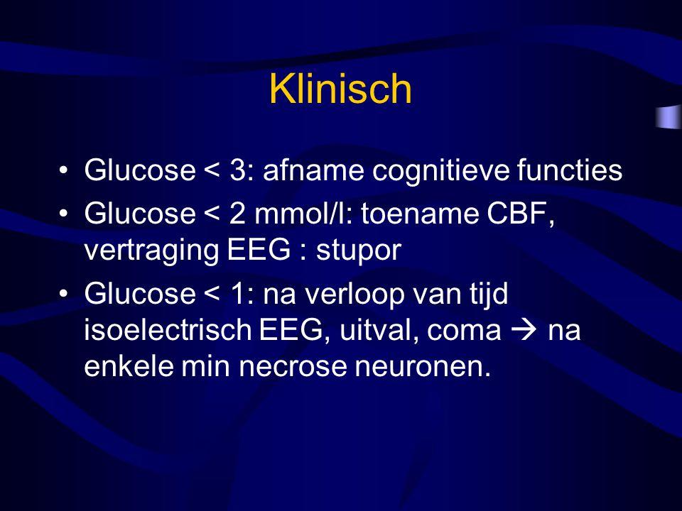 Klinisch Glucose < 3: afname cognitieve functies