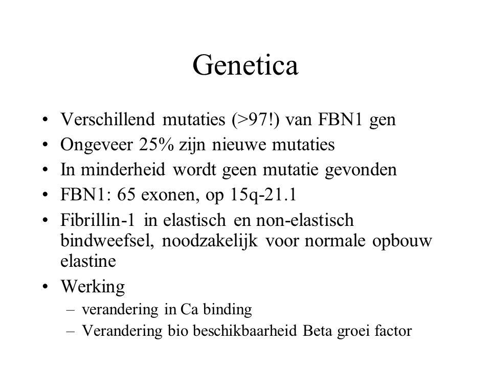 Genetica Verschillend mutaties (>97!) van FBN1 gen