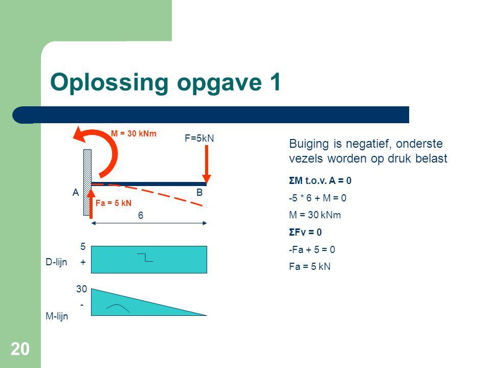 Oplossing opgave 1 M = 30 kNm. F=5kN. Buiging is negatief, onderste vezels worden op druk belast.