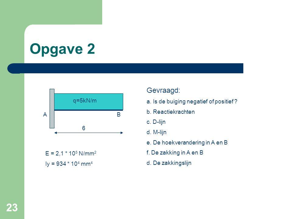 Opgave 2 Gevraagd: a. Is de buiging negatief of positief