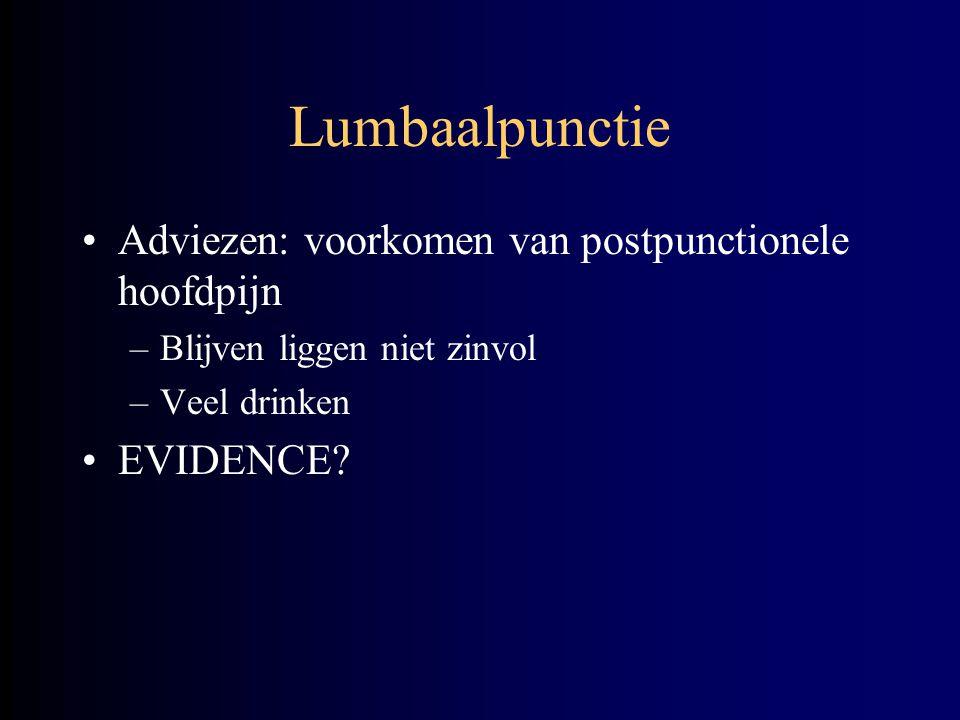 Lumbaalpunctie Adviezen: voorkomen van postpunctionele hoofdpijn