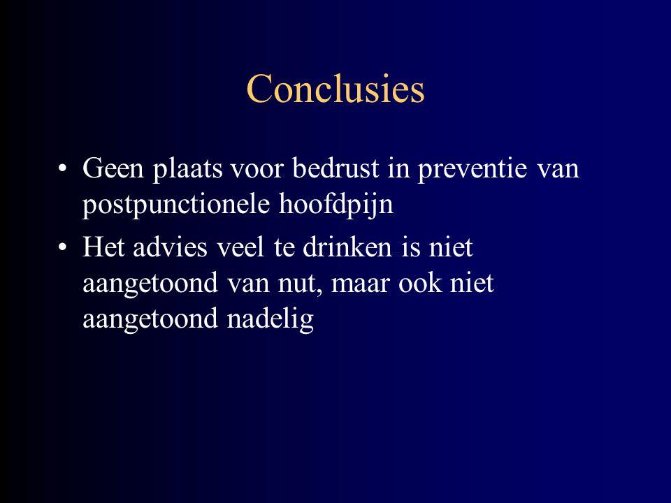 Conclusies Geen plaats voor bedrust in preventie van postpunctionele hoofdpijn.