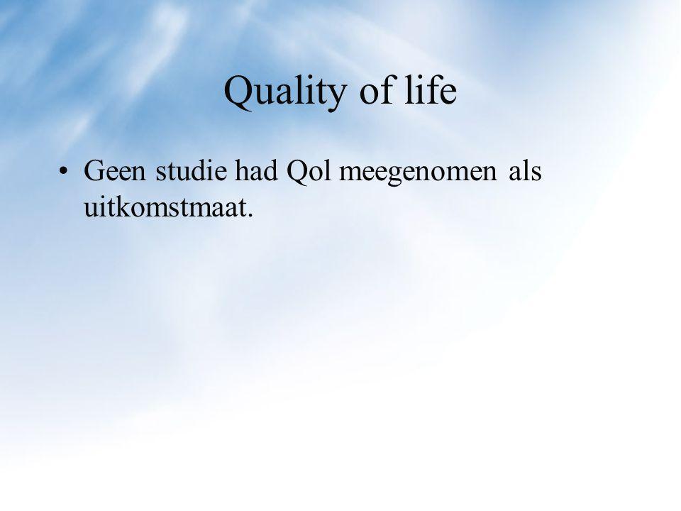 Quality of life Geen studie had Qol meegenomen als uitkomstmaat.