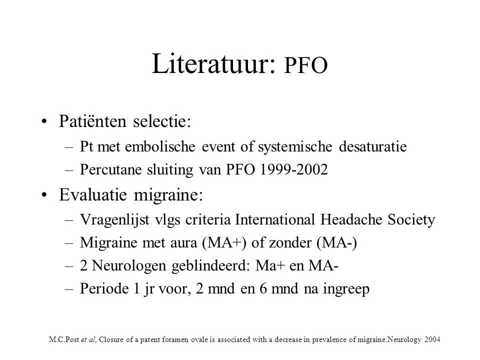 Literatuur: PFO Patiënten selectie: Evaluatie migraine: