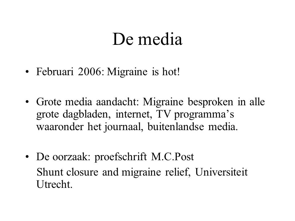 De media Februari 2006: Migraine is hot!