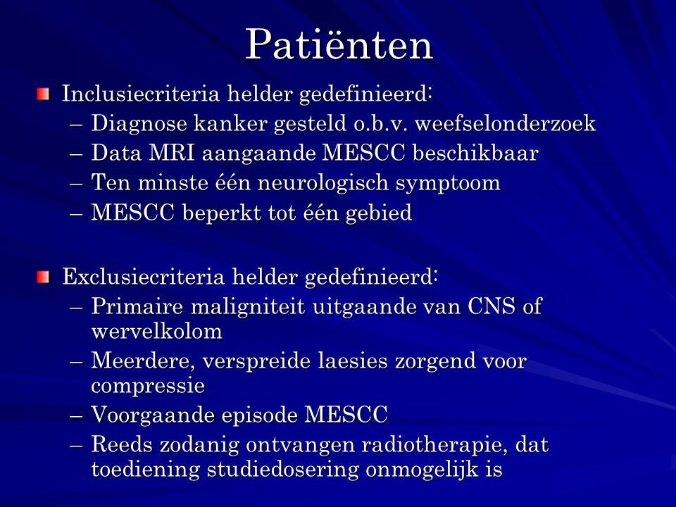 Patiënten Inclusiecriteria helder gedefinieerd: